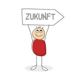 Stick man figure holding sign with word zukunft. Written in arrow shaped sign above his circular smiling head Stock Photos