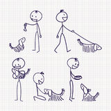 Stick man figure with pet dog with different poses. Stick figure of man with his pet dog with different poses of walking, feeding, playing, training and caring Royalty Free Stock Photos