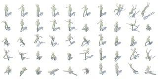 Stick man figures icons set, isometric style. Stick man figures icons set. Isometric illustration of 16 stick man figures vector icons for web Stock Photo