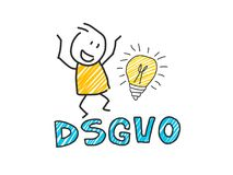 Stick man in front of DSGVO letters. General Data Protection Regulation. GDPR, RGPD, DSGVO, DPO. Concept vector. Stick man in front of DSGVO letters. General Stock Photo