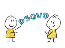 Stick man in front of DSGVO letters. General Data Protection Regulation. GDPR, RGPD, DSGVO, DPO. Concept vector. Stick man in front of DSGVO letters. General Royalty Free Stock Photo
