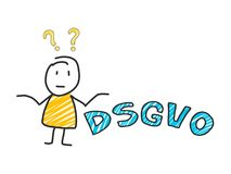 Stick man in front of DSGVO letters. General Data Protection Regulation. GDPR, RGPD, DSGVO, DPO. Concept vector. Stick man in front of DSGVO letters. General Royalty Free Stock Image
