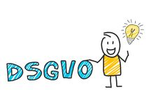 Stick man in front of DSGVO letters. General Data Protection Regulation. GDPR, RGPD, DSGVO, DPO. Concept vector. Stick man in front of DSGVO letters. General Stock Photos