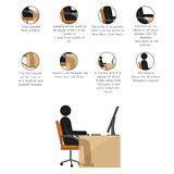 Stick man  infographic. How ti sit right Royalty Free Stock Photo