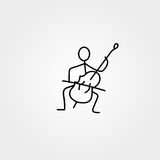 Stick man paying double-bass vector. Royalty Free Stock Photo