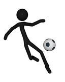 Stick Man playing football or soccer Royalty Free Stock Photography