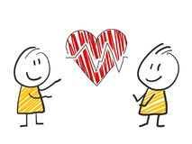 2 stick man standing and thinking expression illustration red heart medicine. 2 stick man standing and thinking bubble expression illustration Stock Photos