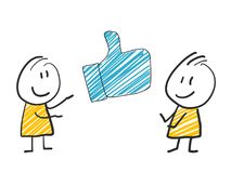 2 stick man standing and thinking expression illustration blue like thumb social media. 2 stick man standing and thinking expression illustration Stock Image