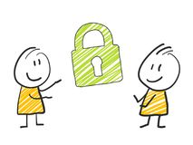 2 stick man standing and thinking expression illustration green symbol lock security symbol. 2 stick man standing and thinking expression illustration Stock Image