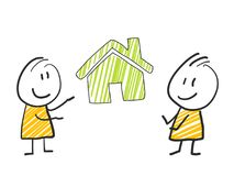 2 stick man standing and thinking expression illustration green house real estate. 2 stick man standing and thinking expression illustration Stock Photography