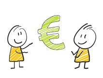 2 stick man standing and thinking expression illustration yellow Euro. 2 stick man standing and thinking expression illustration Stock Photography