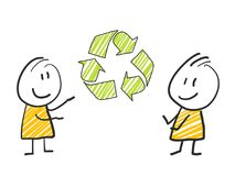 2 stick man standing and thinking expression illustration yellow green recycling. 2 stick man standing and thinking expression illustration Royalty Free Stock Photo