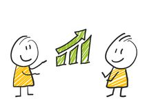 2 stick man standing and thinking expression illustration yellow green chart. 2 stick man standing and thinking expression illustration Royalty Free Stock Image