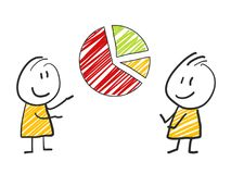 2 stick man standing and thinking expression illustration yellow pie chart. 2 stick man standing and thinking expression illustration Royalty Free Stock Image