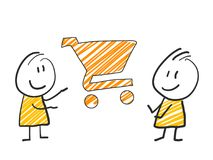 2 stick man standing and thinking expression illustration yellow shopping cart symbol. 2 stick man standing and thinking expression illustration Stock Photos