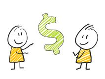 2 stick man standing and thinking expression illustration yellow dollar. 2 stick man standing and thinking expression illustration Royalty Free Stock Photos