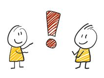 2 stick man standing and thinking expression illustration yellow exclamation mark. 2 stick man standing and thinking bubble expression illustration Stock Photo
