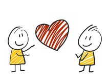2 stick man standing and thinking expression illustration yellow heart red. 2 stick man standing and thinking expression illustration Stock Photos