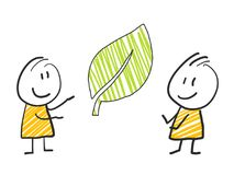 2 stick man standing and thinking expression illustration yellow leaf. 2 stick man standing and thinking expression illustration Stock Image