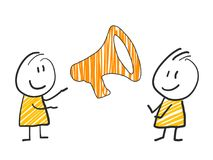 2 stick man standing and thinking expression illustration yellow megaphone attention sign. 2 stick man standing and thinking expression illustration Stock Photos
