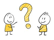 2 stick man standing and thinking expression illustration yellow question mark. 2 stick man standing and thinking expression illustration Stock Photo