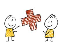 2 stick man standing and thinking expression illustration yellow red cross. 2 stick man standing and thinking expression illustration Stock Image