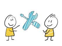 2 stick man standing and thinking expression illustration yellow repair tools symbol. 2 stick man standing and thinking expression illustration Stock Photos