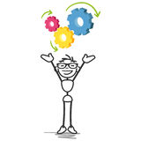 Stick man stick figure cogs strategy. Vector stick figure illustration: Cheering stick man with colorful cog symbols Royalty Free Stock Image