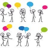 Stick man stick figure conversation communication. Set of  stick figures: Stick man having conversations, colorful speech bubbles Royalty Free Stock Photos