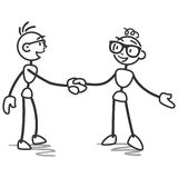 Stick man stick figure handshake deal. Vector stick figure illustration: Stick man shaking hands, agreement, friendship Stock Photography