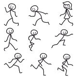 Stick man stick figure happy running walking. Set of vector stick figures: Happy stick man walking and running Royalty Free Stock Image