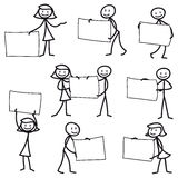 Stick man stick figure holding blank sign. Set of vector stick figures: Stick man pointing and holding blank signs Royalty Free Stock Photography