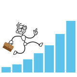 Stick man stick figure successful running charts. Vector stick figure illustration: Busy successful stick man running on growing income charts Royalty Free Stock Image