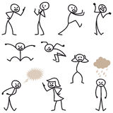 Stick man stick figures angry bad-tempered upset Stock Photos