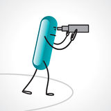 Stick man using a telescope isolated Stock Photography