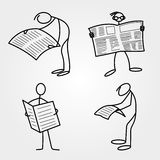 Stick men or figures with newspaper. Vector Stock Image