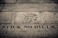Stick No Bills Sign Stock Photo