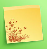 Stick note with abstract flowers Royalty Free Stock Image