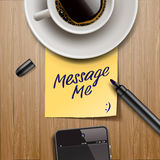 Stick note with marker, coffee cup and tablet Stock Image