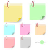 Stick note paper with Color set Isolate on white  background Stock Image