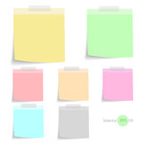 Stick note paper with Color set Isolate on white  background Stock Images