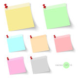 Stick note paper with Color set Isolate on white  background Stock Photos
