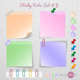 Stick note paper with Color set Isolate on white  background Royalty Free Stock Images