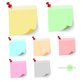 Stick note paper with Color set Isolate on white  background Stock Photo