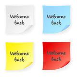 Stick note welcome back Stock Photography