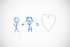 Stick people in love on whiteboard Stock Photography