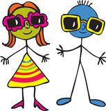 Stick boy and girl with sunglasses. Two stick people, a boy and a girl wearing oversized sunglasses Royalty Free Stock Photos