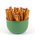 Stick Pretzels Green Bowl Stock Photo