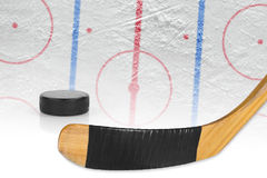 Stick, puck and hockey arena Stock Photos