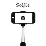 Stick for selfie. Monopod Selfie shots cartoon  illustration. Selfie stick concept  illustration Royalty Free Stock Photography